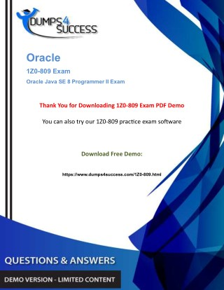 Oracle 1Z0-809 Dumps Question - Java SE 8 [1Z0-809] Exam Question