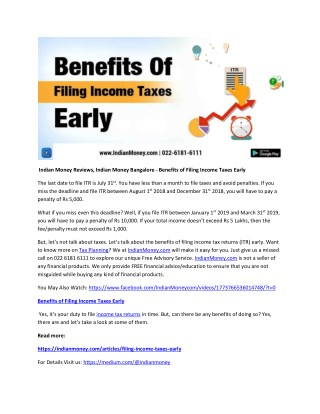 Indian Money Reviews, Indian Money Bangalore - Benefits of Filing Income Taxes Early