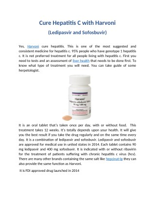 Cure Hepatitis C with Harvoni (Ledipasvir and Sofosbuvir)