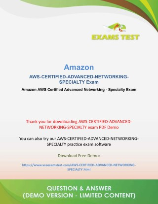 Get Valid AWS-Certified-Advanced-Networking-Specialty VCE Exam 2018 - [FREE DEMO DOWNLOAD]