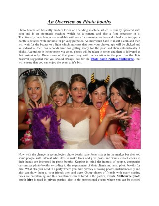 An Overview on Photo booths