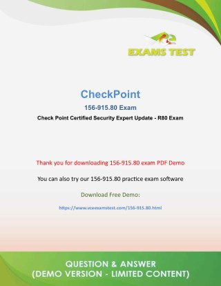 PPT - Get Valid CheckPoint 156-915 80 VCE Exam 2018 - [DOWNLOAD FREE