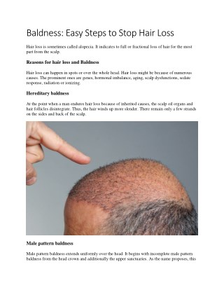 Baldness: Easy Steps to Stop Hair Loss