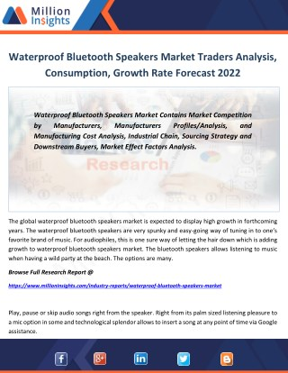 Waterproof Bluetooth Speakers Industry Manufacturing Cost Structure, Sourcing Strategy By 2022