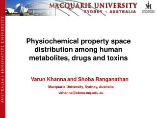 Physiochemical property space distribution among human metabolites, drugs and toxins