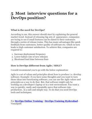 5 MOST IMPORTANT INTERVIEW QUESTIONS FOR DEVOPS | DevOps Online Training