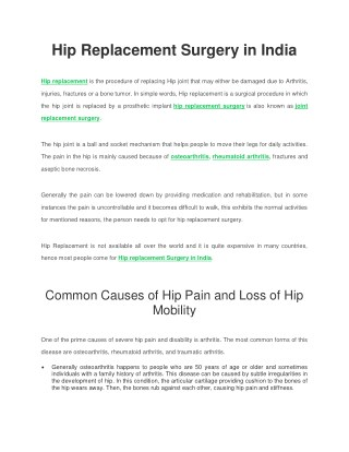 Best Hospitals for hip replacement Surgery in India