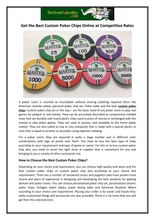 Get the Best Custom Poker Chips Online at Competitive Rates