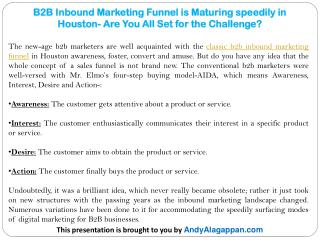 B2B Inbound Marketing Funnel is Maturing speedily in Houston- Are You All Set for the Challenge?