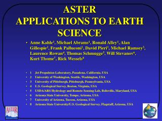 ASTER APPLICATIONS TO EARTH SCIENCE