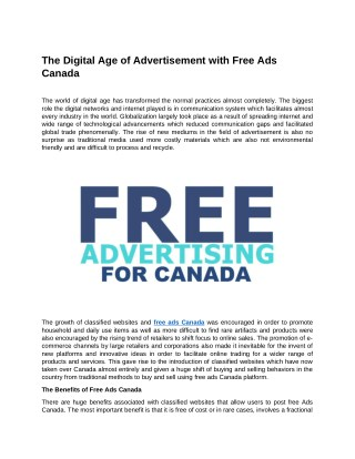 The Digital Age of Advertisement with Free Ads Canada