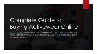 Complete Guide for Buying Activewear Online