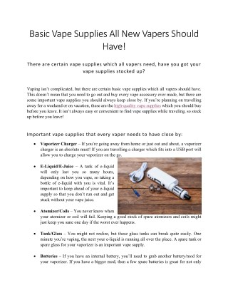 Basic Vape Supplies Every Vaper Should Have