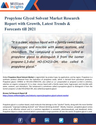 Propylene Glycol Solvent Market Regional Analysis, Industry Growth, Size, Share, Forecast 2021