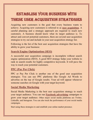 Establish your Business with these User Acquisition Strategies