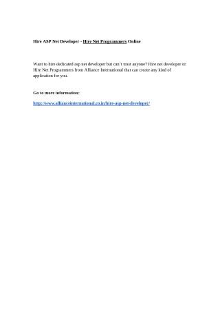 Hire ASP Net Developer - Hire Net Programmers Online