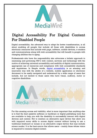 Digital Accessibility For Digital Content For Disabled People