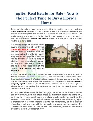 Jupiter Real Estate for Sale - Now is the Perfect Time to Buy a Florida Home