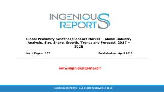 Forecast 2025- Proximity Switches/Sensors Market Sales Revenue | Research | and Business Overview
