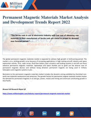 Permanent Magnetic Materials Market Analysis and Development Trends Report 2022