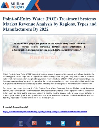 Point-of-Entry Water (POE) Treatment Systems Market Revenue Analysis by Regions, Types and Manufacturers By 2022