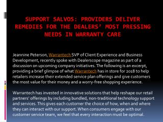 Providers Deliver Remedies For The Dealers' Most Pressing Needs In Warranty Care