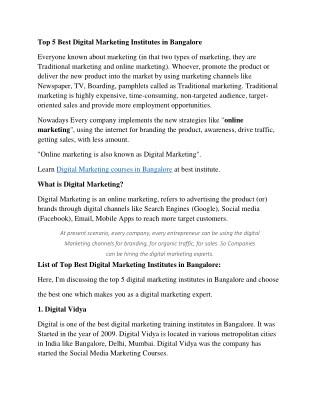 Top 5 Best Digital Marketing Institutes in Bangalore