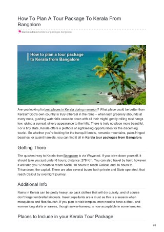 HOW TO PLAN A TOUR PACKAGE TO KERALA FROM BANGALORE