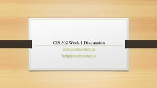 CIS 502 Week 1 Discussion