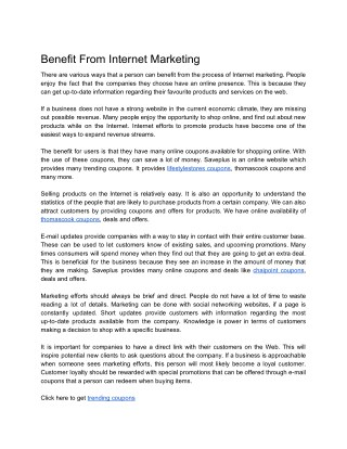 Benefit From Internet Marketing