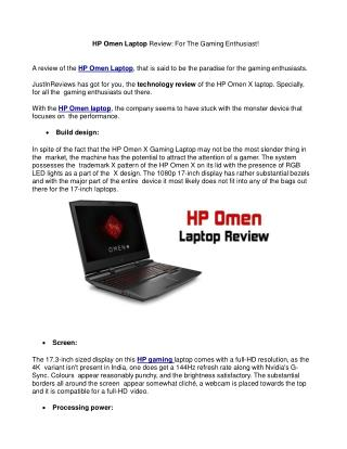 HP Omen Laptop Review: For The Gaming Enthusiast!