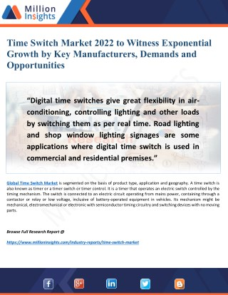 Time Switch Market Research Trends, Outlook, Upcoming Strategies