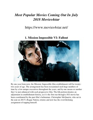 Most Popular Movies Coming Out In July 2018 Movies4star