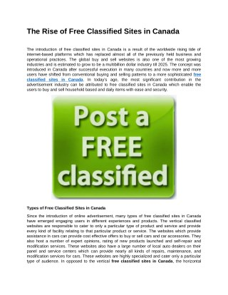 The Rise of Free Classified Sites in Canada