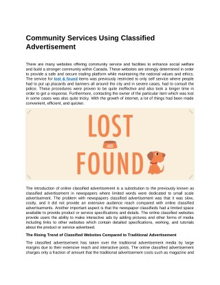 Community Services Using Classified Advertisement