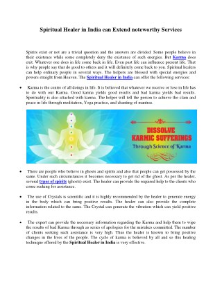 Spiritual Healer in India can Extend noteworthy Services