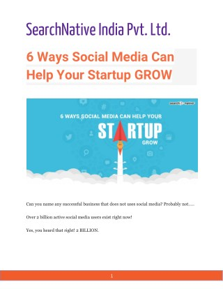 6 Ways Social Media Can Help Your Startup GROW