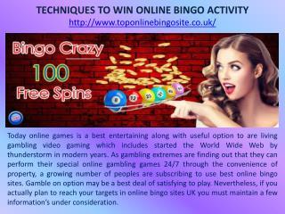 TECHNIQUES TO WIN ONLINE BINGO ACTIVITY