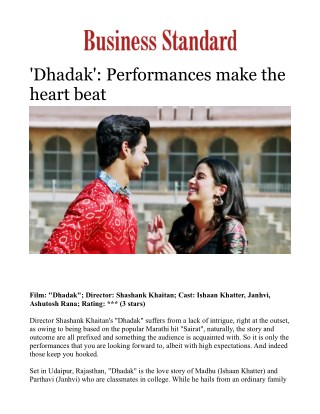 Dhadak': Performances make the heart beat