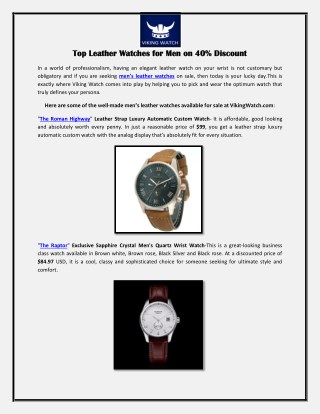 Top Leather Watches for Men on 40% Discount