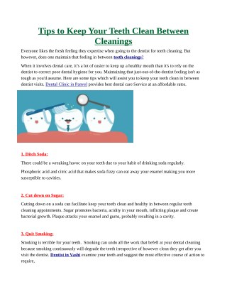 Tips to Keep Your Teeth Clean Between Cleanings