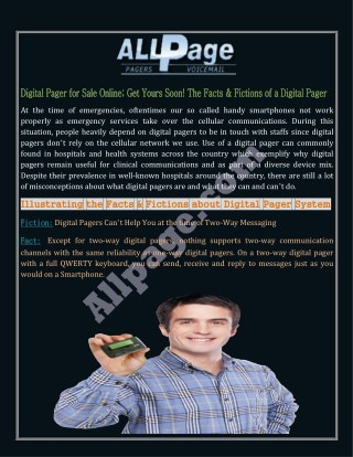 Digital Pager for Sale Online; Get Yours Soon! The Facts & Fictions of a Digital Pager