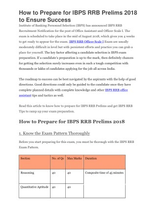 How to Prepare for IBPS RRB Prelims 2018 to Ensure Success