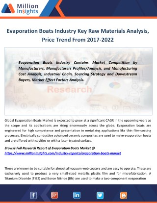 Evaporation Boats Industry uses By Type, Demand, Trends, Share Forecast 2022