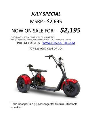 JULY SPECIAL Offer Trike Chopper Fat Tire Trike