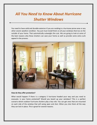 All You Need to Know About Hurricane Shutter Windows