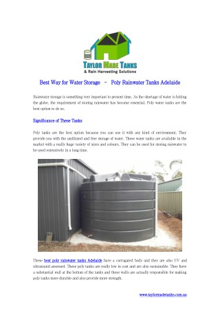 Best Way for Water Storage – Poly Rainwater Tanks Adelaide