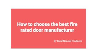 Fire Rated Door Manufacturers Dubai | Ideal