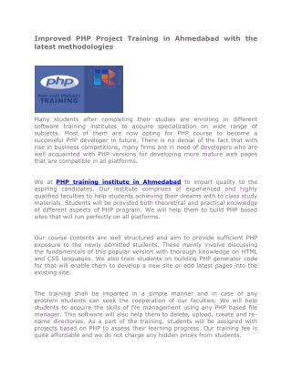 Improved PHP Project Training in Ahmedabad with the latest methodologies