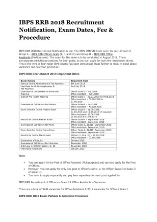 IBPS RRB 2018 Recruitment Notification, Exam Dates, Fee & Procedure